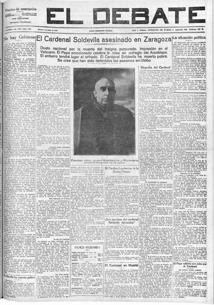 Asesinato Cardenal Soldevila - El Debate 05-06-1923