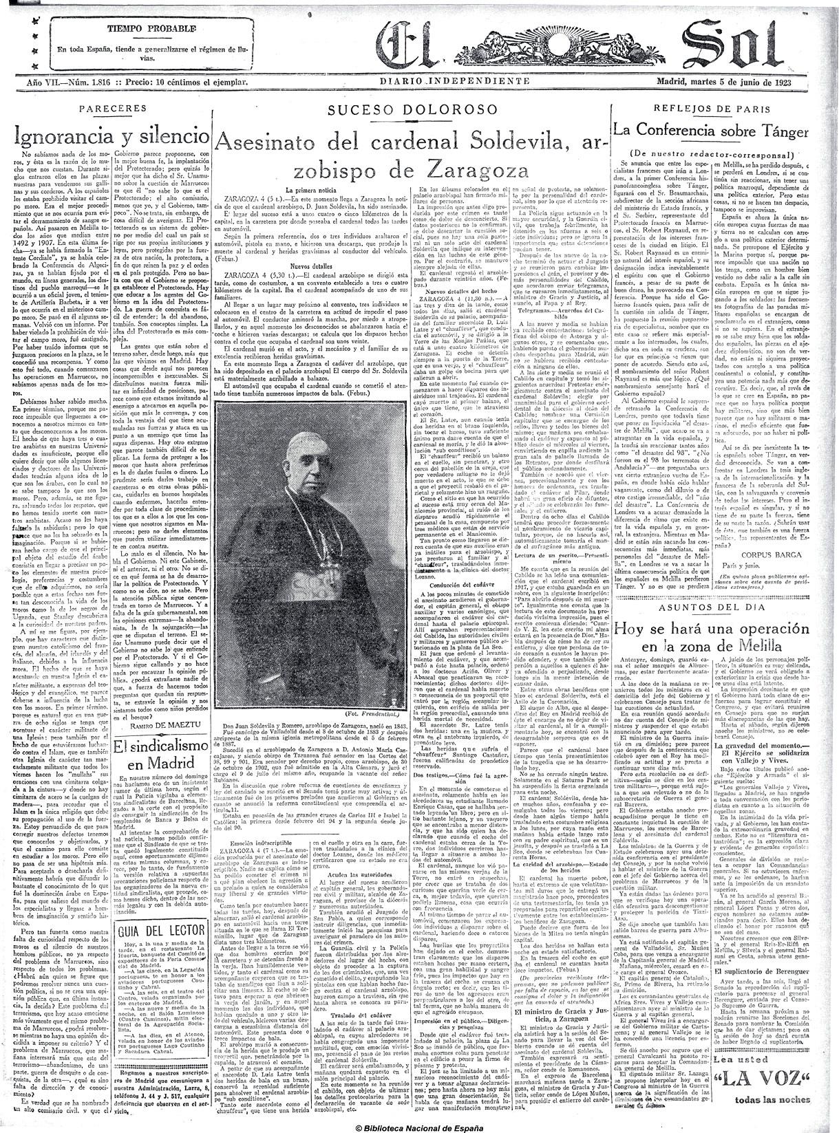 Asesinato del Cardenal Soldevila - El Sol, 05-06-1923