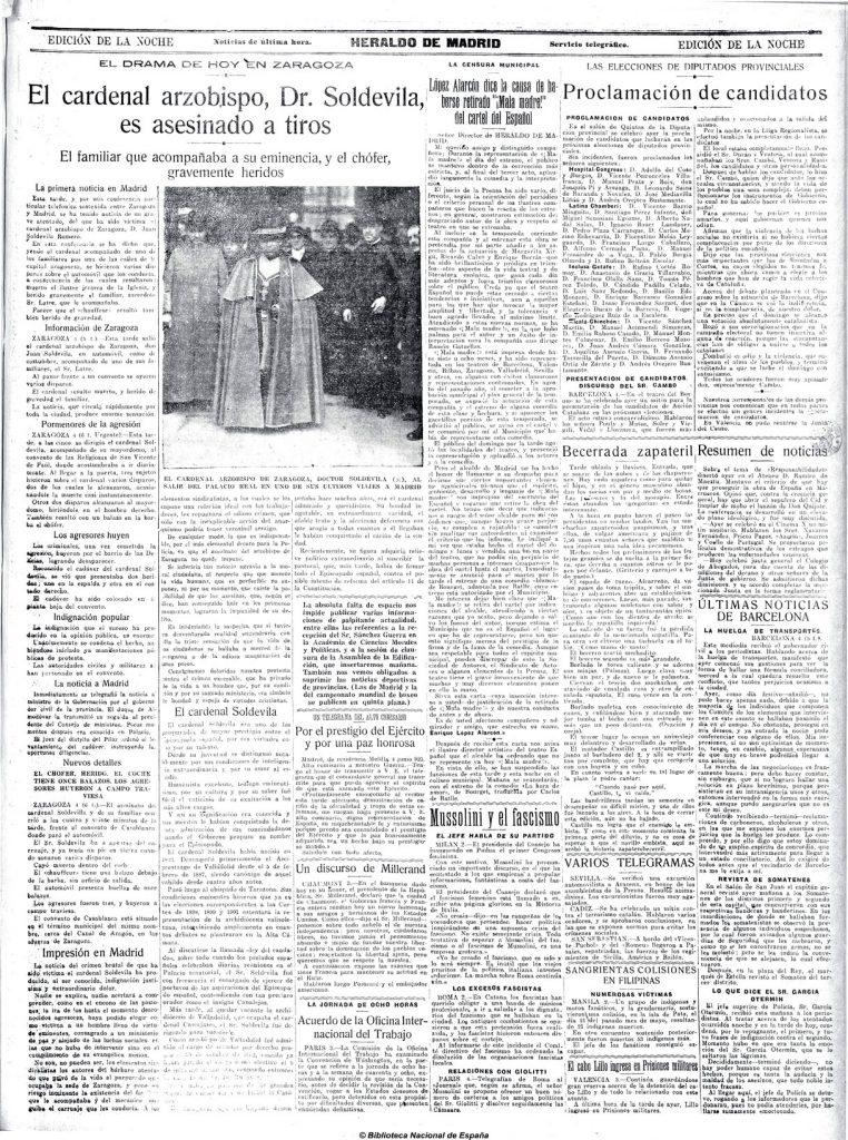 Asesinato Cardenal Soldevila - Heraldo de Madrid, 04-06-1923